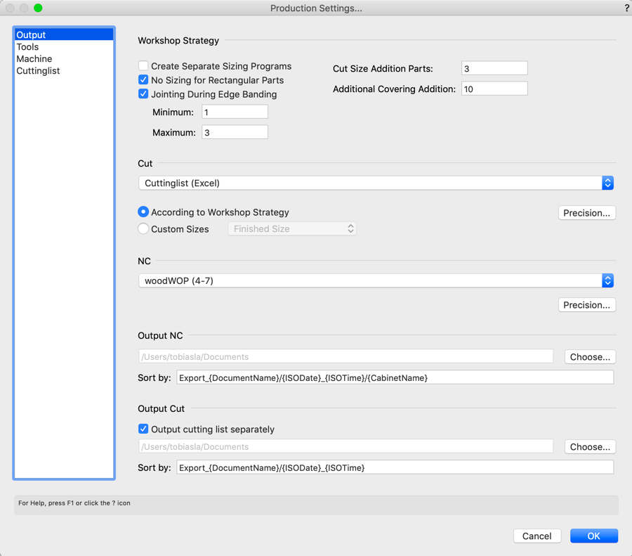 Production Settings: Sizing, Contouring, and Cutting Lists
