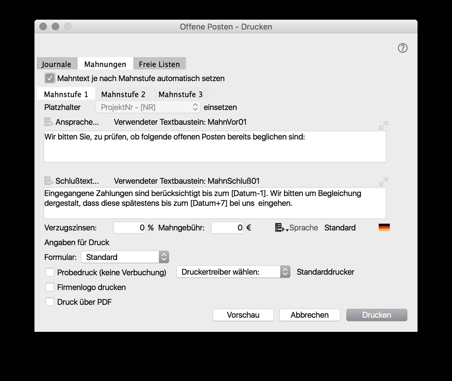 Offene Posten Drucken Profacto Handbuch Confluence